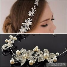 Flower Wedding Hair jewellery Bridal Headdress Diamante Crystal Pearl Headpiece