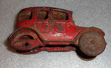 old cast iron red painted toy car