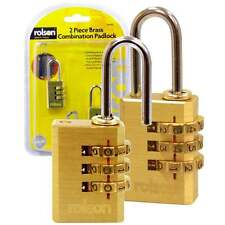 Rolson 2pc Combination Padlocks Suitcase Lock with Solid Brass Body & Cylinder
