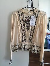 Zara Womens Embroidered Nude Frill Top SIZE S BRAND NEW SOLD OUT