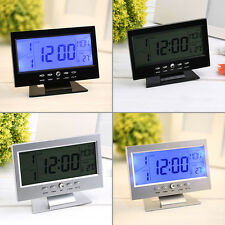 Voice Control Back-light LCD Alarm Desk Clock Weather Monitor Calendar MC