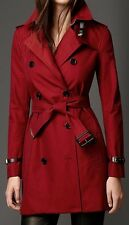 Burberry London KENSINGTON MID US 12 Military Red Gabardine Trench Coat $2195