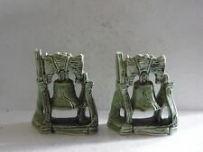 Vintage Green Glaze Pottery Liberty Bell Bookends Book Ends Figures