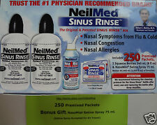 250 Pc. NeilMed Sinus Rinse Exp.2019 Relief Nasal Flu Cold Allergy+Free Spray