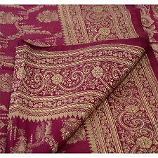 Sanskriti Vintage Sari Woven 100% Pure Satin Silk Fabric Saree Brocade Pink