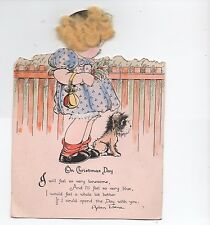 1930s Die Cut Christmas Card of small Girl & Dog with added Hair