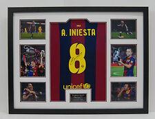 Andrés Iniesta Barcelona Camiseta Enmarcado Firmado a Mano AFTAL autógrafo genuino (a)