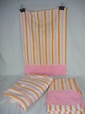 Vtg Cannon Monticello Full Flat & Fitted Sheet w 1 Pillowcase Pink Orange Stripe