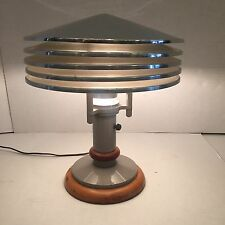 Art Deco Machine Age Aluminum And Maple Wood Desk Lamp Vintage Retro