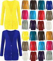 Ladies Button Up Cardigan Womens Plus Size Boyfriend Pocket Rushed Long Sleeve