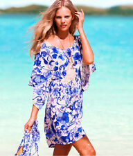 Kimono Sleeve Knee-Length Blue Beach Dress One Size to Fit 8 10 12 14 16  NEW!