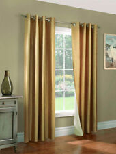 4 GOLD PANEL FAUX  SILK  BLACKOUT HEAVY THICK GROMMET WINDOW CURTAIN LINED DRAPE