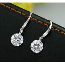 925 Sterling Silver Clear Crystal Diamond Drop Dangling Earrings Gift Box Her C3