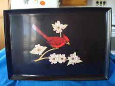 Vintage~Couroc~of~Monterey~Cardinal~Tray~with~Paper~Label