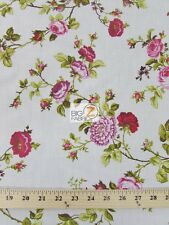 """DAFFODILS FLOWER POLY COTTON PRINT FABRIC - Red - 58""""/59"""" WIDTH SOLD BTY"""