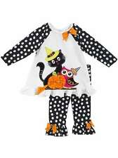 Rare Editions Girls Black White Cat Owl Halloween School Fall Dress Outfit 9M