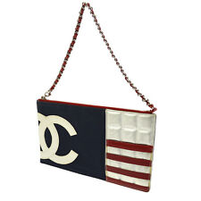 Auth CHANEL Quilted CC Cruise Line Chain Hand Bag Pouch Canvas Leather V12314
