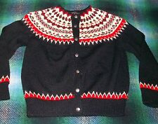 DAVID I. PIKE Vintage Black Red White Wool Cardigan Ski Sweater Norway 42