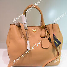 AUTH PRADA TOP HANDLE BN2423 SUGHERO BEIGE PEBBLED DOUBLE ZIP CROSS TOTE BAG NEW