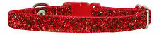 "RED  SPARKLE CHIHUAHUA  DOG/PUPPY COLLAR 6""-8"""