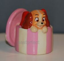 "Disney LE CERAMIC FIGURINE PUPPY LADY HATBOX 2"" Lady & the Tramp 60th Dog Statue"