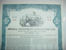 Imperial Investment Corporation Ltd. Bond Stock Certificate British Columbia