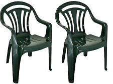 2x Plastic Low Back Garden Chair Lightweight Armchair Home Camping Fishing Picnc