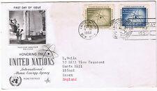 Nazioni UNITE PRIMO GIORNO EMISSIONE 1958 International ATOMIC Energy sg59 & sg60