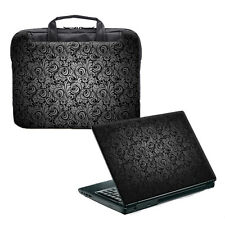 "TaylorHe 15.6"" Laptop Shoulder Bag Handles Strap & Skin Bundle Black Paisley"