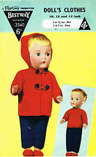 "Dolls clothes knitting pattern.10""-16"" doll. Laminated copy. (V Doll 86)"