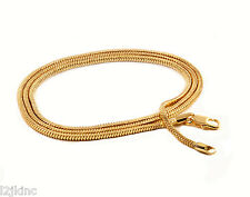 "Mens 30"" Inch 18k Gold Plated Finished 3mm Slim Snake Hip-Hop Chain Necklace"