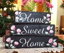 Chic Shabby Shelf Blocks Home Sweet  Home Pink Roses Black Blocks
