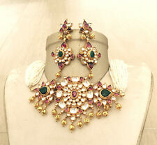 Gold Plated Kundan Choker Necklace Elegant Bridal Jewelry Set Bollywood Fashion