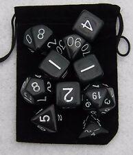NEW Jet Black RPG Dice Set: 7 + 3d6 = 10 polyhedral die plus bag!