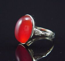 Incredible BIG Antique Victorian Engraved Yellow Gold Carnelian Ring 6