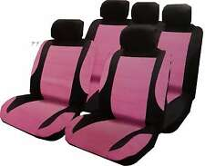 Universal Car Pink Leather Look Seat Covers, Steering Wheel Cover, Harness Pads