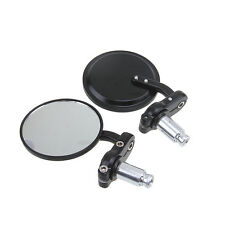 "Motorcycle CNC Aluminum Rearview 7/8"" Handle Bar End 3"" Mirrors Round Black PAIR"