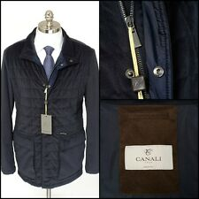 Mens CANALI 1934 Blue All Season Quilted Down Field Zip Coat Jacket 52 42 L NWT