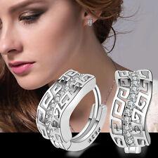 Fashion Lady 925 Sterling Silver Crystal Rhinestone Ear Stud Dangle Earrings grt