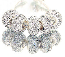 5PCS High Quality  white CZ Crystals Beads fit European Charm Bracelet k14