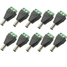 10 X DC POWER PLUG 12V VOLT CCTV ADAPTOR CONNECTOR MALE 2.1MM