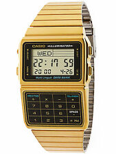 Casio DBC611G-1DF Gold Stainless Steel Databank Calculator Watch 5 Alarms NEW