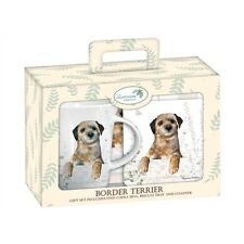 Border Terrier Teatime Gift Set - Terrier Mug, Biscuit Tray & Coaster GREAT GIFT