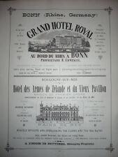 GRANDE PUBLICITÉ ANCIENNE 1886 GRAND HOTEL ROYAL BONN ALLEMAGNE HOTEL BOULOGNE