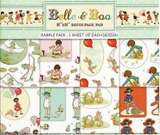 TRIMCRAFT  8 X 8 DIE CUT DECOUPAGE SAMPLE PACK - BELLE & BOO - NEW - 8 SHEETS