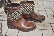 Ash Biker Boots Brown Tan Titanic Studded Brass Ankle 39 6 BNWT