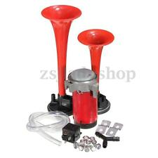 Air Horn Dual Trumpet Compressor Kit Red 135dB Loud 12V Truck Train Car Tractor