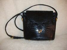 Rare Vintage Lana Marks Lana of London Navy Blue Genuine Alligator Shoulder Bag