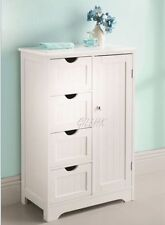 A Brand New White Wood Free standing 1 Door 4 Drawer Bathroom Furniture Cabinet