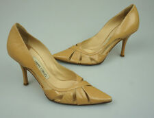Jimmy Choo Tan Leather Pointed Toe Cut Out Pumps Heels Shoes Size 35